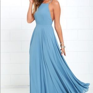 Lulus Mythical Kind of Love Slate Blue Maxi Dress